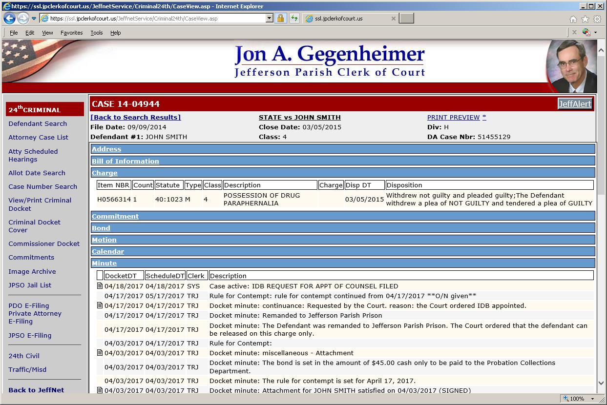 JeffNet « Jefferson Parish Clerk of Court